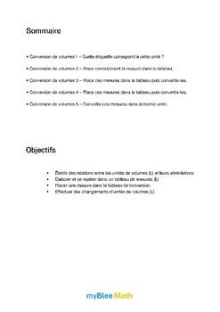 Volumes et masses - Conversion de volumes (L)