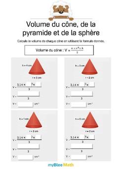 Volumes et masses - Volumes du cône, de la pyramide et de la sphère