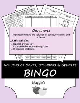 Volumes of Cones, Cylinders, and Spheres BINGO