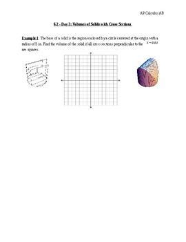 Calculus cross sections volume teaching resources teachers pay volumes of solids with cross sections ap calculus ab publicscrutiny Choice Image