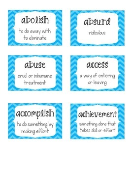 Voluminous Vocabulary Daily Activities and Word Wall for 5th Grade- Blue Chevron