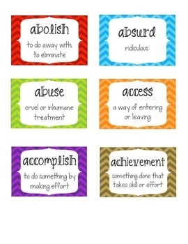 Voluminous Vocabulary Daily Activities and Word Wall for Fifth Grade- Chevron