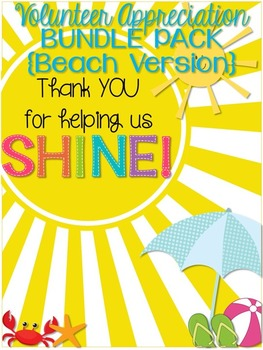 Volunteer Appreciation {BEACH version} BUNDLE