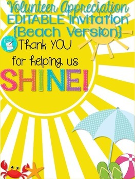 Volunteer Appreciation Invitation {BEACH version} EDITABLE