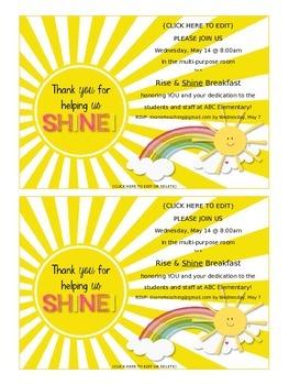 Volunteer Appreciation Invitation, EDITABLE! {Thank you for helping us shine!}