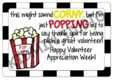 Volunteer Appreciation - Popcorn tags
