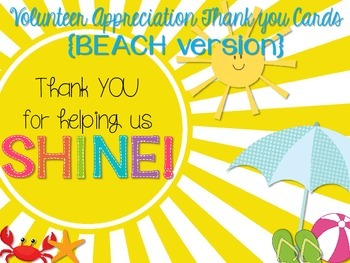 Volunteer Appreciation Thank You Cards {BEACH version}