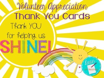 Volunteer Appreciation Thank You Cards {Thank you for help
