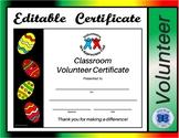 Classroom Volunteer Certificate - Editable