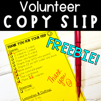 Volunteer Copy Slip - FREEBIE