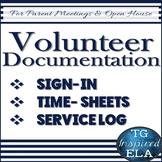 Volunteer Documentation Navy BUNDLE: Sign-Up --Time-Sheet --Student Service Log