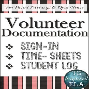 Volunteer Documentation BUNDLE: Sign-Up --- Time-Sheet --- Student Service Log