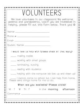 Volunteer Form for Parents