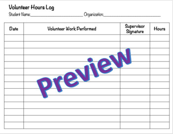 Volunteer Hours Log - Editable