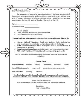Volunteer Letter Form Home Editable