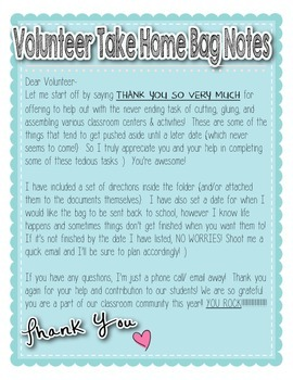 """Volunteer Note and Direction Cards for """"Take Home"""" Bags"""