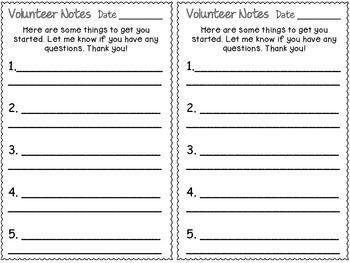 Volunteer Notes/Instruction Sheet