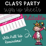 Volunteer Party Sign Up Sheets (with rip tabs as reminders)