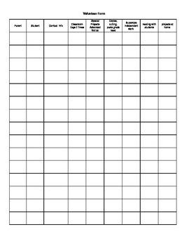 Volunteer Response Recording Sheet