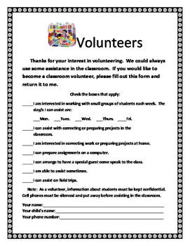 Volunteer Sheet