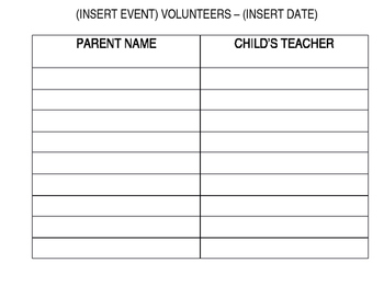 Volunteer Sign-In Sheets