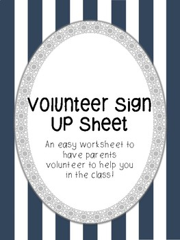 Volunteer Sign Up Paper