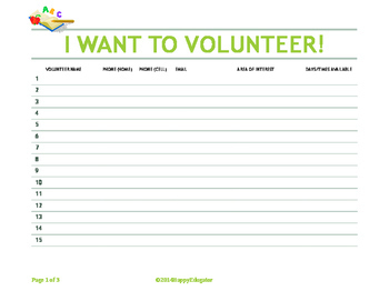 Back to School Volunteer Sign Up Sheet -  I Want to Volunteer FREE