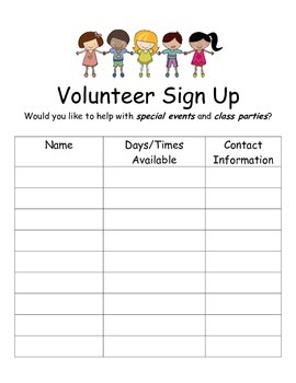Volunteer Sign-Up Sheets