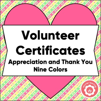 Volunteer Certificates Of Appreciation And Thank You