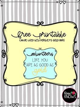 Volunteer Thank You FREE Printable
