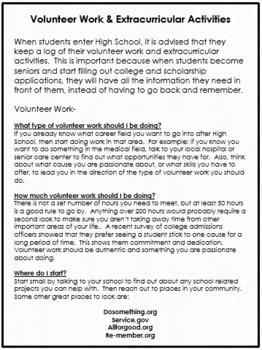 Volunteer Work & Extracurricular Log for High School Students