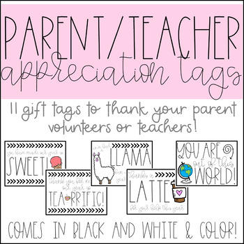 Volunteer and Teacher Appreciation Gift Tags