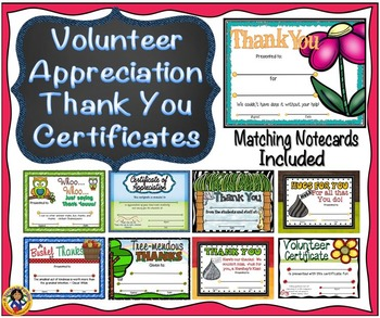 Volunteer Appreciation/Thank You Certificates
