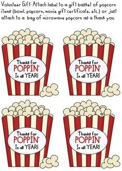 Volunteer gift with popcorn by Tami Netzband | Teachers ...