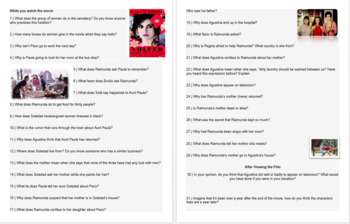 Volver Movie Guide with English Questions. Pedro Almodovar