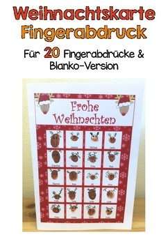 Weihnachtskarten Mit Fingerabdruck.Vorlage Rentier Weihnachtskarte Fingerabdruck By Klassenkunst Tpt