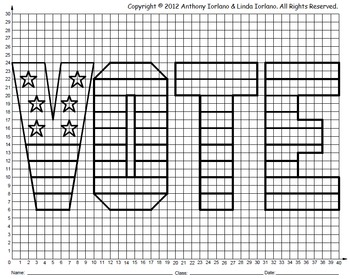 Vote, Election Day, School Election, Coordinate Graphing, Coordinate Drawing