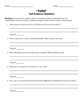 Vote! Text Evidence Questions