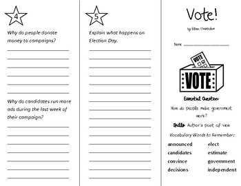 Vote! Trifold - Wonders 3rd Grade Unit 2 Weeks 1-2 (2020)