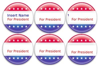 Vote for Class President Buttons