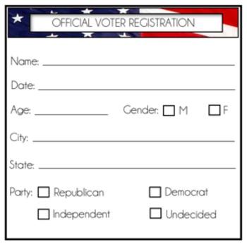 Voter Registration Cards {Mock Election}