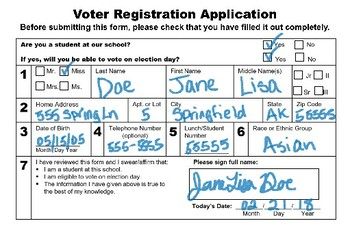 Voter Registration Forms and Cards!
