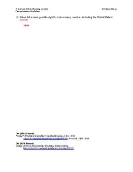 Voting Article (Reading Level 1) Comprehension Worksheet