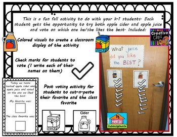 Voting Cider or Apple Juice???  Fun interactive Activity for your Students!!