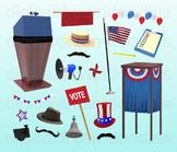 Voting Election Clipart - Political Voter Digital PNG Graphics