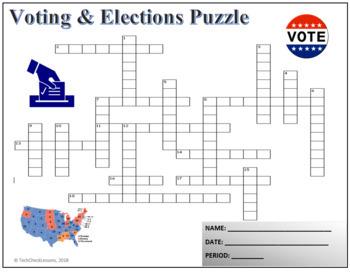 Voting & Elections Crossword Puzzle Activity Worksheet
