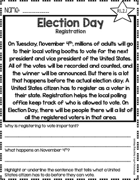 Voting No Prep Printables Non-fiction Passages