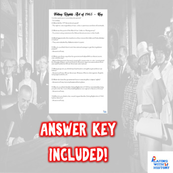 Voting Rights Act of 1965 Worksheet - Secondary Source w/ Answer Key