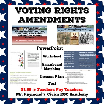 Voting Rights Amendments 13th 14th 15th 19th 24th 26th Tpt