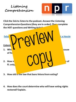 Voting Rights in Florida - Listening Comprehension, H.O.T. Questions, Evidence